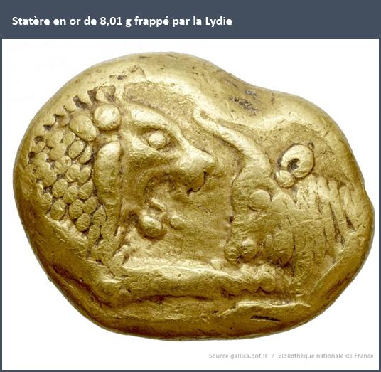 Statère en or de 8,01 g frappé par la Lydie