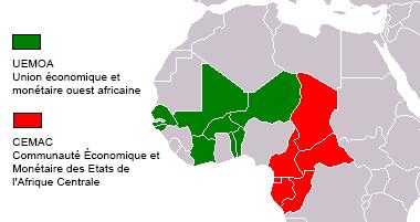 Les deux zones franc d'Afrique