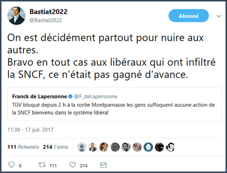 De Lapersonne SNCF politiciens François Bayrou mensonges politique macron