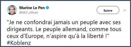 Le Pen Marine dirigeants peuple allemand europe liberté politiciens François Bayrou mensonges politique macron