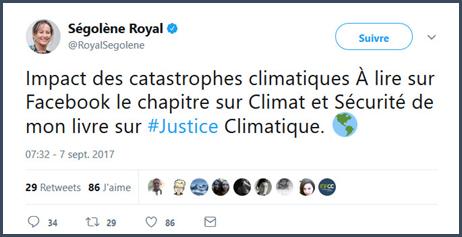 Royal Ségolène facebook climat sécurité livre justice climatique politiciens François Bayrou mensonges politique macron