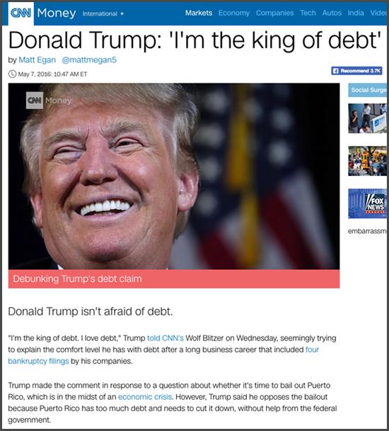 """Le """"Roi de la dette"""", comme Donald s'est lui-même surnommé Trump"""