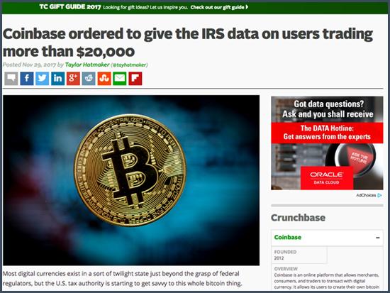 Coinbase sommé de communiquer au fisc américain les données des utilisateurs qui négociaient plus de 20000$