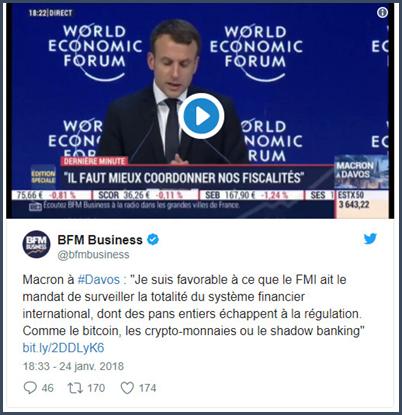 Macron à Davos bitcoin crypto monnaie régulation FMI shadow banking