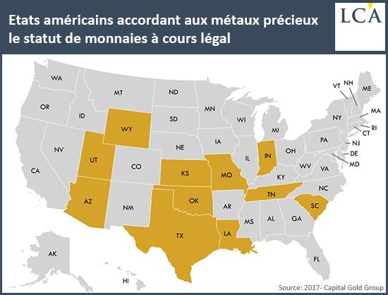 Etats américains accordant aux métaux précieux le statut de monnaies à cours légal