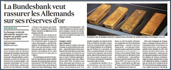 Les Allemands rapatrie leurs réserves d'or stockées à l'étranger depuis 2012. La banque centrale allemande vient de convier le public à examiner ses réserves nous apprend Les Echos.
