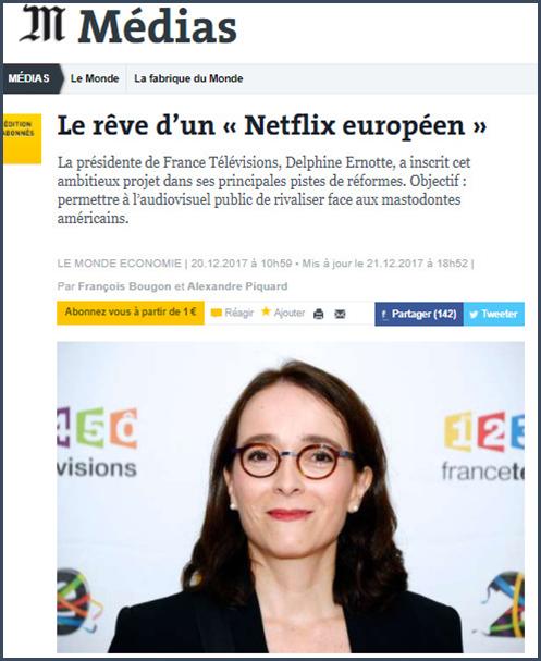 Ernotte veut un Netflix à l'européenne