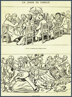 """Dans un de mes livres d'Histoire du lycée figurait le dessin de Caran d'Ache, paru dans Le Figaro du 14 février 1898, et intitulé """"Un dîner en famille"""". Dans la première case, chacun se tient bien et la légende est """"Surtout! ne parlons pas de l'affaire Dreyfus"""". Dans la seconde case, tous les convives s'étripent et la légende précise: """"... ils en ont parlé...""""."""