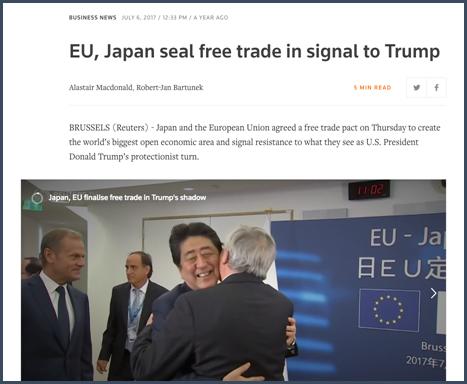 """Là où Trump voulait moins de libre-échange, l'Europe a répondu par plus de coopération économique. En juillet 2017, nous avons vu des titres comme """"L'UE et le Japon scellent un accord de libre-échange comme réponse à Trump."""""""