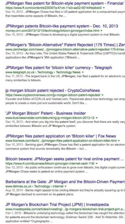 JPMorgan filing patent internet search