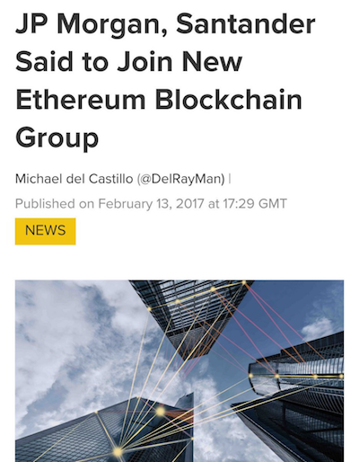 JP Morgan, Santander said to join new Ethereum Blockchain group