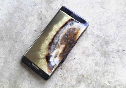 Un Galaxy Note 7 après sa combustion